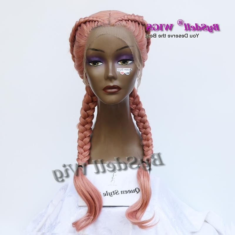 Double Fat Braids Hairstyle Wig Synthetic Pestal Ash Smoke Pink In Most Current Wigs Braided Hairstyles (Gallery 5 of 15)