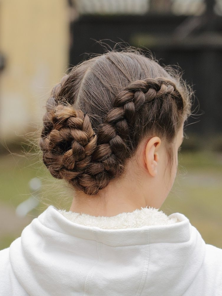 Double French Braid Bun | Fun Hairstyles | Pinterest | Double French Intended For Most Recent Braided Bun With Two French Braids (View 2 of 15)