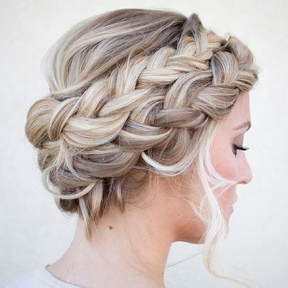 Double French Braid Crown Updo – The Cutest Braided Crown Hairstyles Inside Most Up To Date Double French Braid Crown Hairstyles (Gallery 1 of 15)