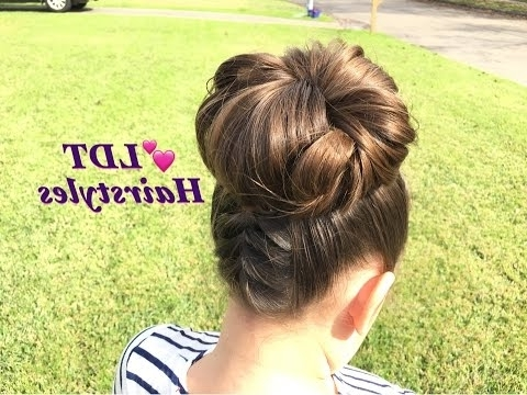Double French Braid Into A Messy Bun – Youtube With Regard To Newest Zipper Braids With Small Bun (Gallery 12 of 15)