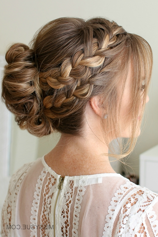 Double French Braid Mohawk Bun | Missy Sue Throughout Most Up To Date Two French Braid Hairstyles With Flower (View 3 of 15)