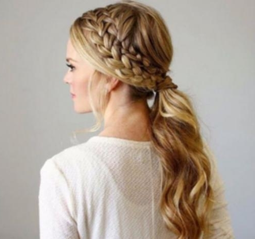Double Reverse French Braid Double Side Braid For Ponytail Images Pertaining To Most Current Reverse Braid And Side Ponytail (Gallery 2 of 15)