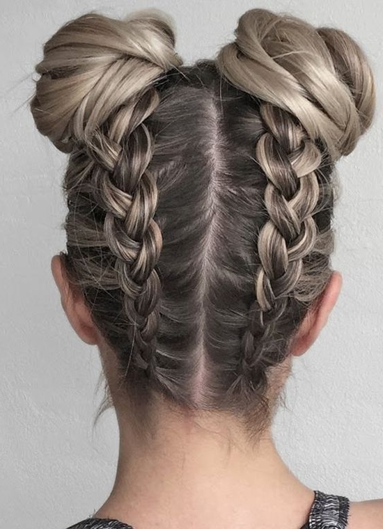 Double Upside Down Braid And Buns 2017 2018 | Upside Down Braids With Regard To Most Recently Upside Down Braids With Double Buns (Gallery 1 of 15)