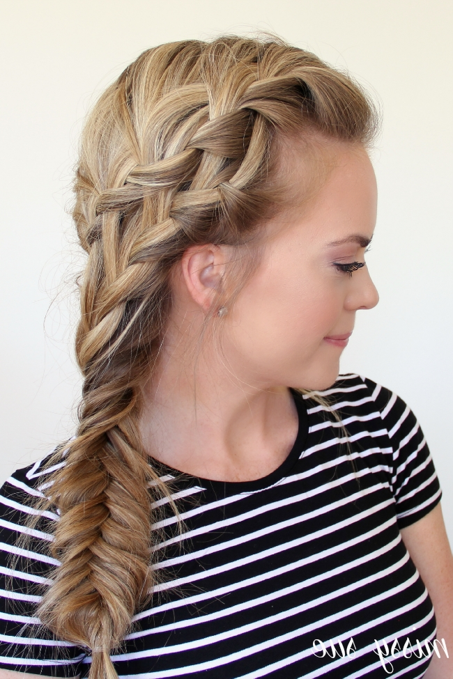 Double Waterfall Braid And Fishtail Side Braid In Newest Two French Braids And Side Fishtail (View 12 of 15)