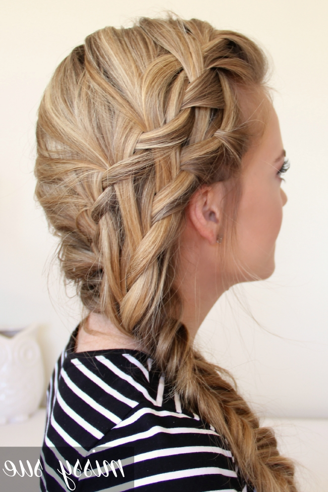 Double Waterfall Braid And Fishtail Side Braid | Pinterest | Double Regarding Most Popular Two French Braids And Side Fishtail (Gallery 5 of 15)
