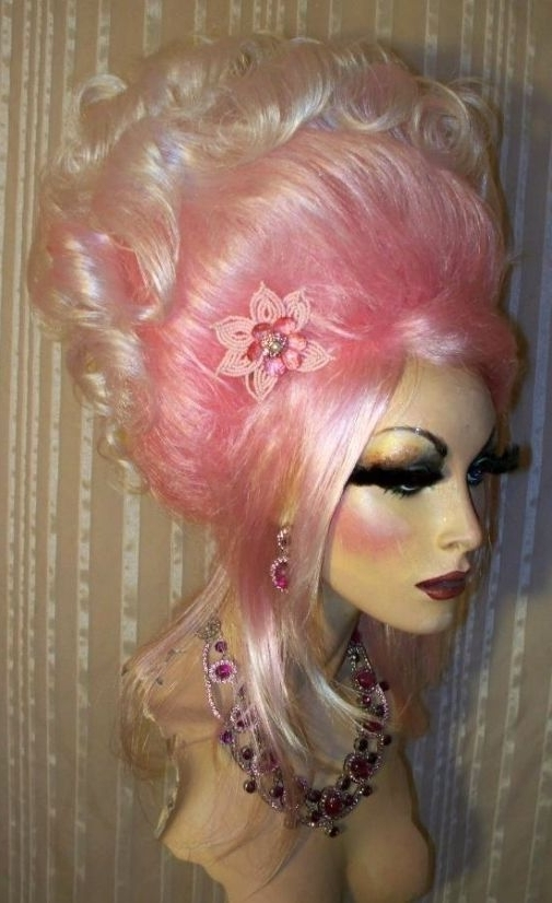 Drag Queen Wig Pale Cotton Candy Pink Roots White Tips Updo Gibson Within Recent Cotton Candy Updo Hairstyles (Gallery 4 of 15)