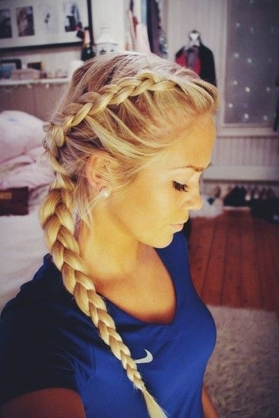 Dutch Braid Crown And Side Braid | Hair Styles | Pinterest | Dutch Within Best And Newest Braided Gym Hairstyles For Women (Gallery 11 of 15)