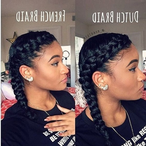 Dutch Braid French Braid Easy Go To Summer Hairstyle | Protective In Most Current Dutch Braid Crown For Black Hair (View 2 of 15)