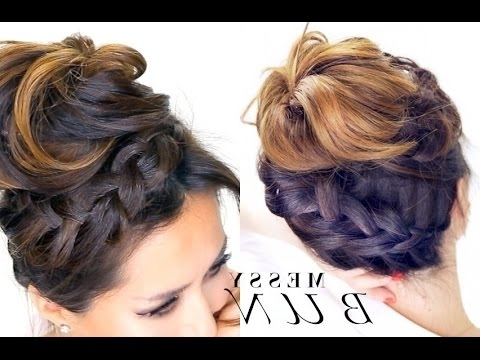 ? Braided Messy Bun Hairstyle | Everyday School Hairstyles – Youtube Intended For Current Messy Bun Braided Hairstyles (View 2 of 15)
