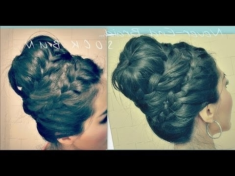 ?Cute Hairstyle | How To Never Ending French Braid Sock Bun Within Best And Newest Two French Braid Hairstyles With A Sock Bun (View 9 of 15)