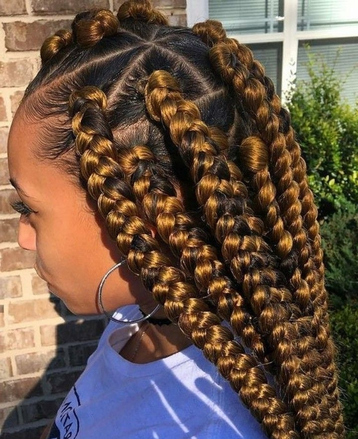 ?Pinterest?: @baddiebecky21  Bex ?   No Credit = Blocked Regarding Most Up To Date Jumbo Braided Hairstyles (View 6 of 15)