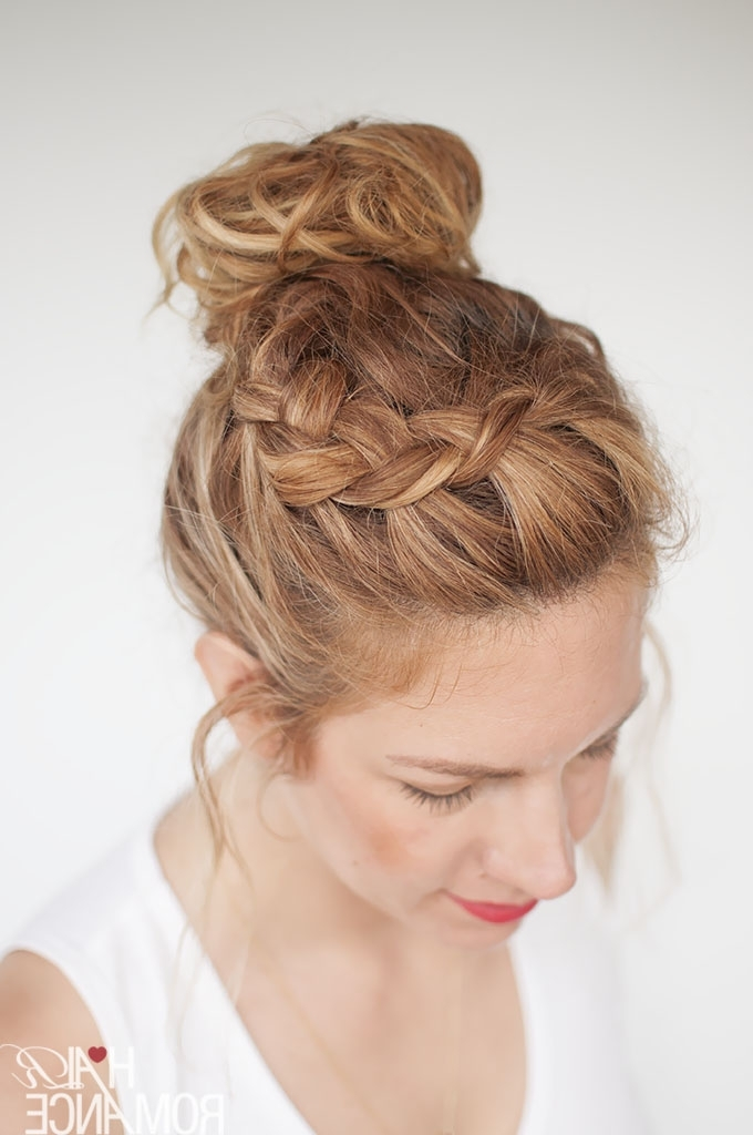 Everyday Curly Hairstyles – Curly Braided Top Knot Hairstyle Tutorial Pertaining To Most Up To Date Romantic Curly And Messy Two French Braids Hairstyles (View 5 of 15)