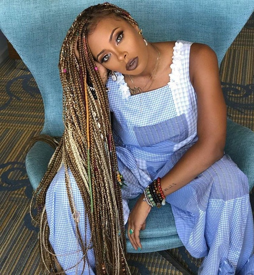 Extra Long Box Braids On @evamarcille Beat@japanesefaces For Latest Super Long Dark Braids With Cuffs (View 12 of 15)