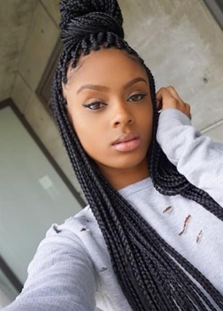 Fancy French Braids For Black Women Intended For Current Half Updo With Long Freely Hanging Braids (View 14 of 15)
