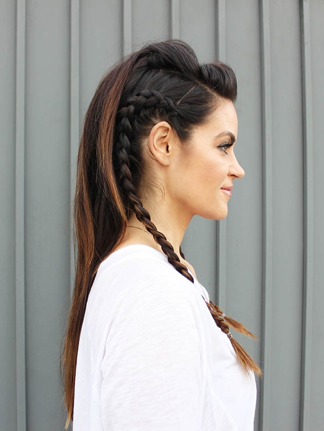 Faux Hawk Hair Tutorial – Glam Latte Inside Best And Newest Long Braided Faux Hawk (View 12 of 15)