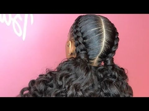 Feed In Braids With Curly Ponytail (View 5 of 15)