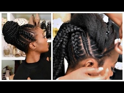 Feed In Stitch Braids Bun With Pre Stretched Hair – Very Affordable In Most Recently Cornrows And Sew Hairstyles (View 2 of 15)