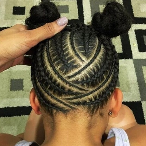 Feed In Zig Zag Cornrows With Double Buns   Hair   Pinterest For Latest Zig Zag Cornrows Hairstyles (View 15 of 15)