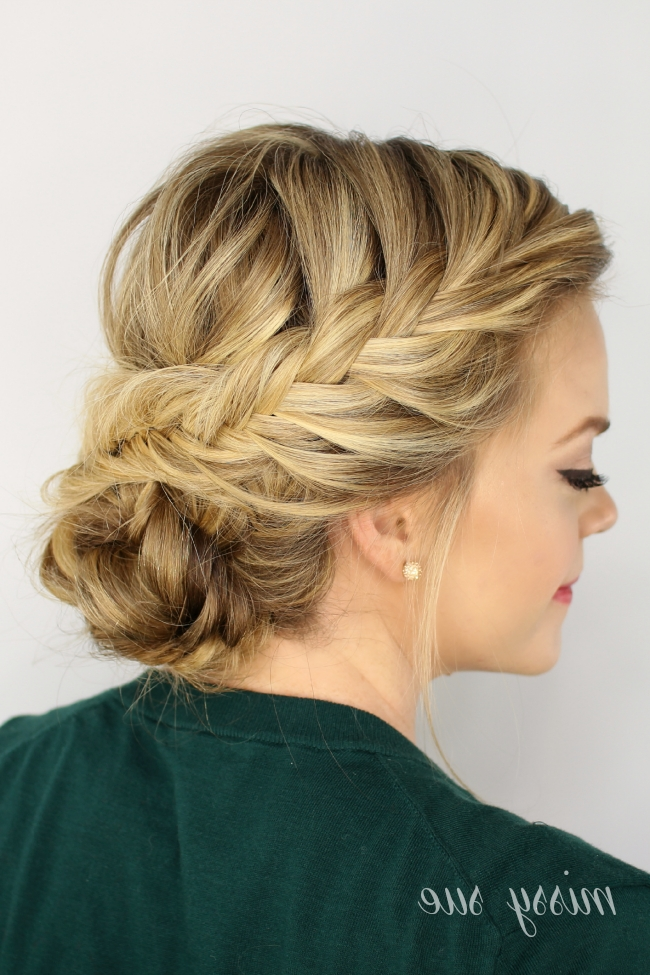 Fishtail Braided Updo For Most Current Braided Hairstyles For Thin Hair (View 8 of 15)
