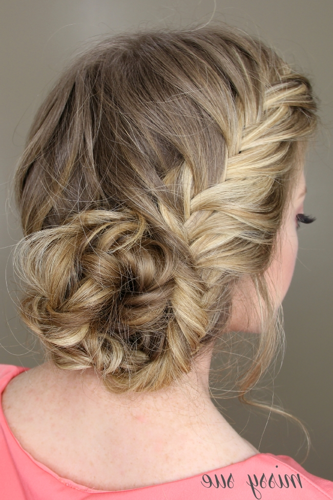 Fishtail French Braid Braided Bun Pertaining To Newest Side Bun With Double Loose Braids (View 9 of 15)