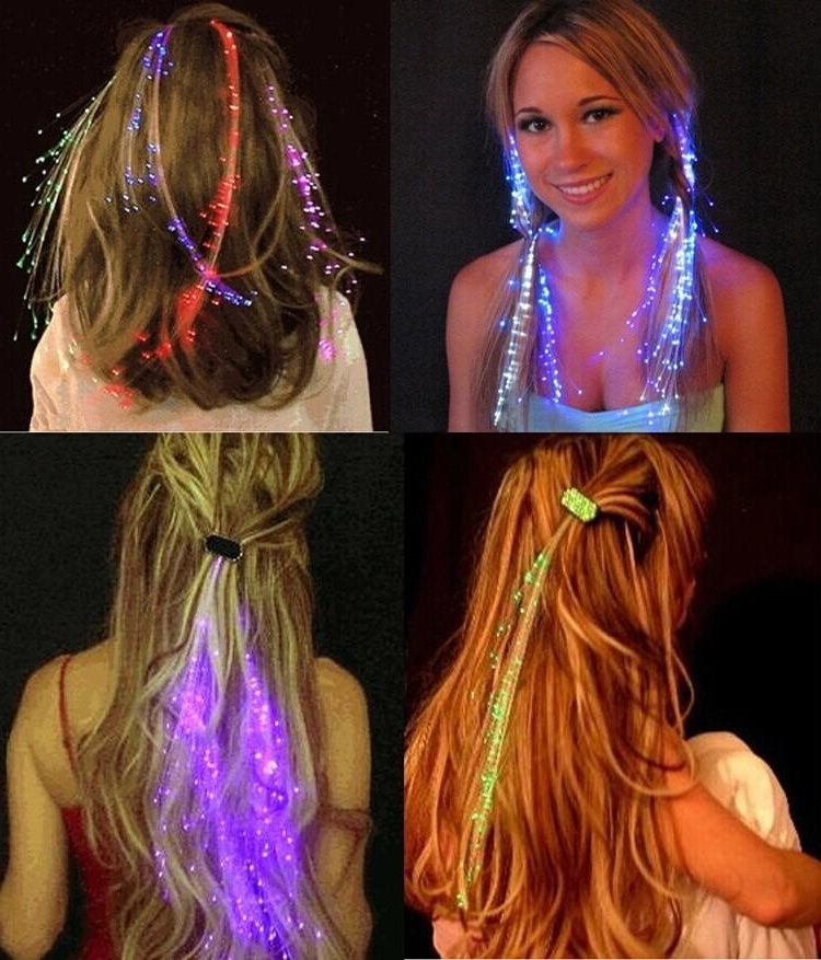 Flash Led Hair Braid Clip Hairpin Decoration Rgb Light Led Rave Toy Pertaining To Most Recently Braid Rave Hairstyles (View 15 of 15)