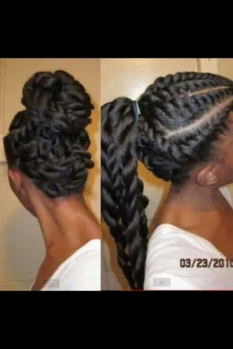 Flat Twists Long Ponytail Up Hair Style For Flat Iron Black Hair Regarding Most Recently Exotic Twisted Knot Hairstyles (View 10 of 15)