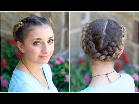 Fold Up Braids | Back To School Hairstyles – Youtube Intended For Latest Twin Braid Updo Hairstyles (View 11 of 15)