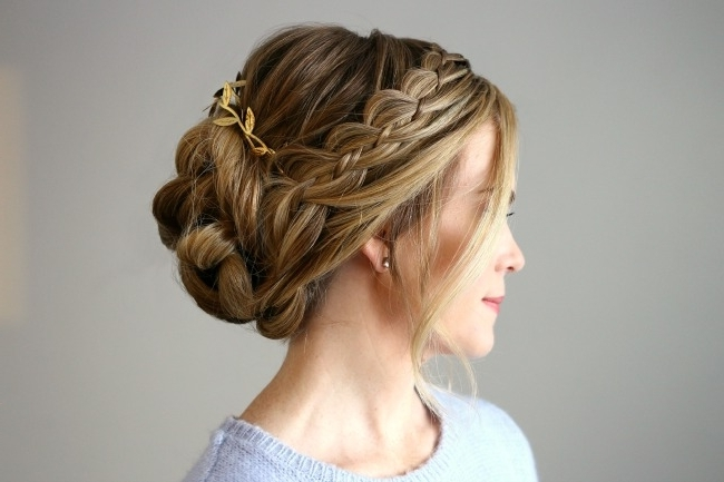 Four Strand Braid Updo | Missy Sue Throughout 2018 Updo With Forward Braided Bun (View 5 of 15)