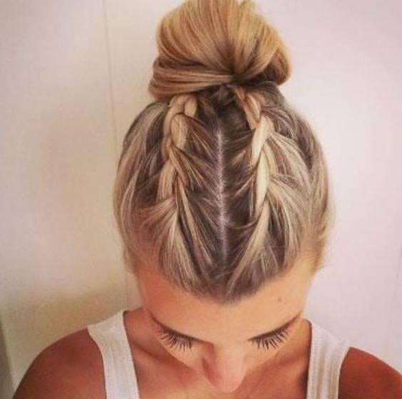 French Braid Hairstyles | Updo | Bun | Two | Cute | Simple | Blonde With 2018 Bun And Braid Hairstyles (View 4 of 15)