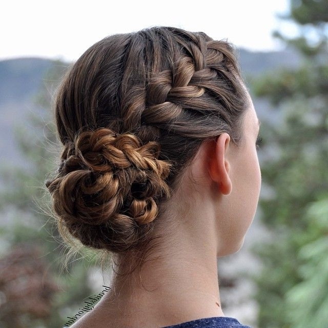French Braid Into A Braid Wrapped Messy Bun On Myself Today! ? I Throughout Most Popular Side Bun With Double Loose Braids (View 10 of 15)