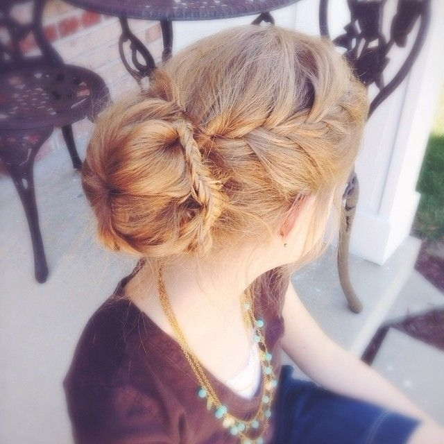 French Braid Into A Sock Bun With A Fishtail Braid Wrapped Around For 2018 Braid Into Sock Bun (View 4 of 15)