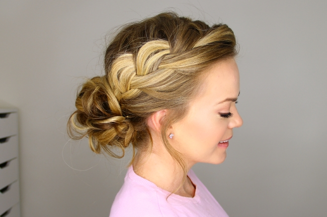 French Braid Into Messy Bun Regarding Most Up To Date Messy Bun With French Braids (View 2 of 15)