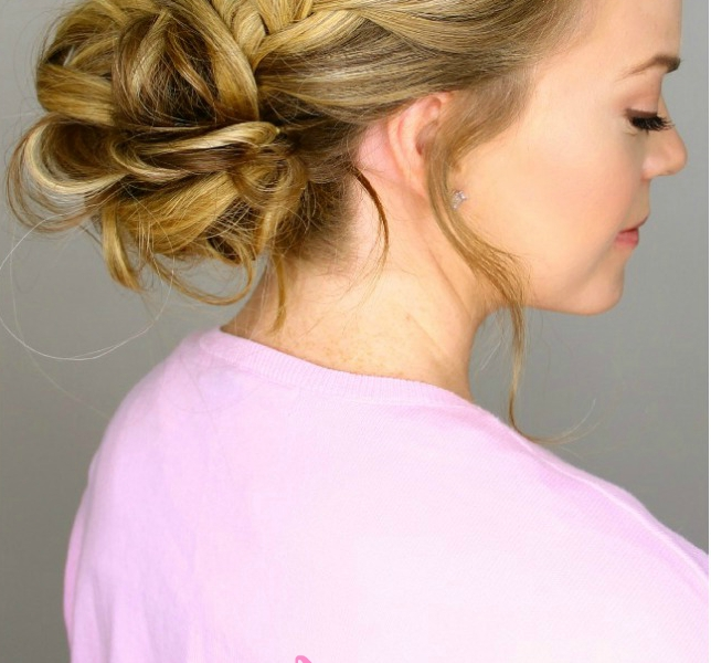 French Braid Into Messy Bun Within Most Up To Date Messy Bun With French Braids (View 7 of 15)