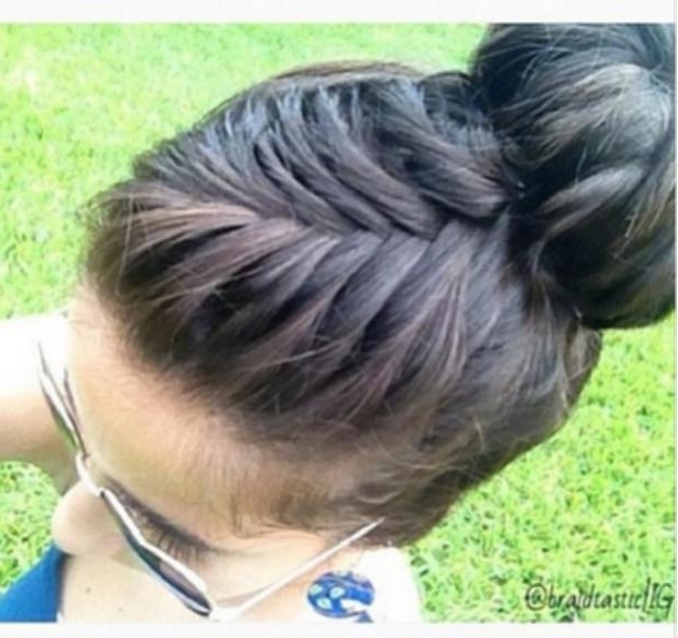 French Braid Into Sock Bun French Fishtail Braid Into Bun Simple Inside Newest Braid Into Sock Bun (View 8 of 15)