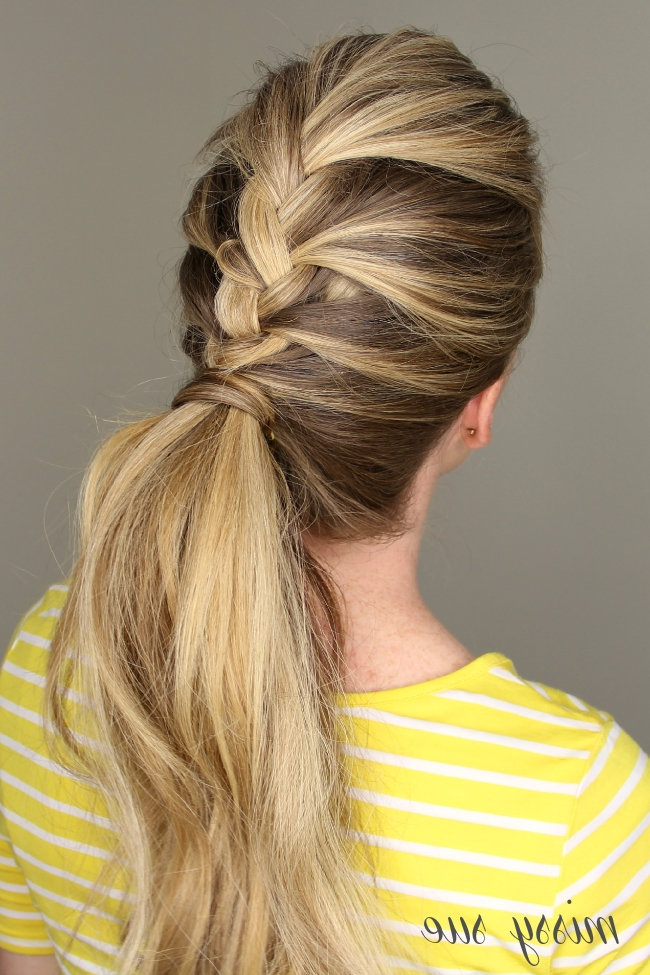 French Braid Ponytail In Most Popular Wrapped Ponytail With In Front Of The Ear Braids (View 13 of 15)