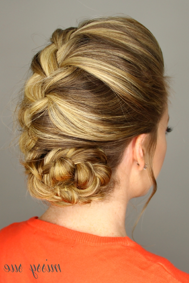 French Braid Rolled Bun With Regard To Current French Braids Into Braided Buns (View 9 of 15)