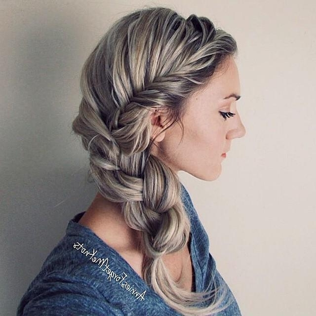 French Fishtail Into Three Strand Within Current French Braids Crown And Side Fishtail (View 4 of 15)