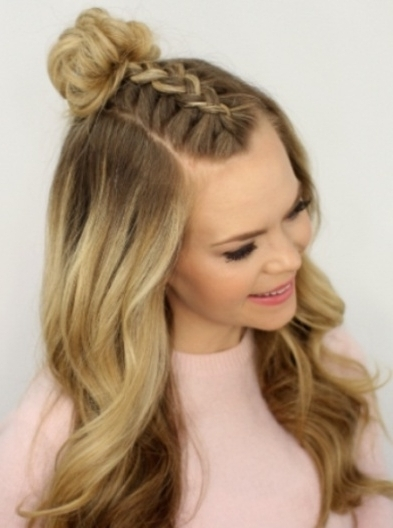 Front Top Knot Hairstyle Top Knot Hairstyles Pertaining To Front With Most Popular Braided Hairstyles In The Front (View 2 of 15)