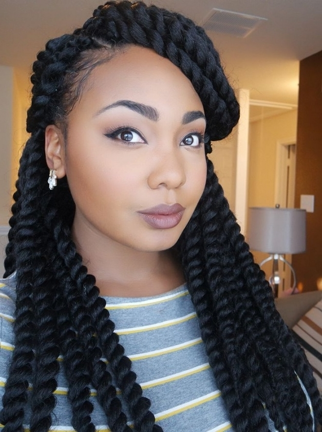 Gallery: Jumbo Braids Hairstyles For Black Women, – Black Hairstle Throughout Recent Jumbo Braided Hairstyles (View 15 of 15)