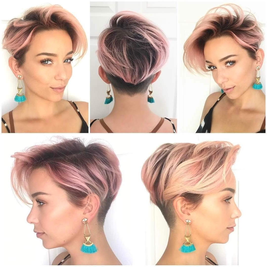 Get This Hairstyle:http://hairstyleology/pink-Layered-Undercut for Newest Tousled Pixie With Undercut