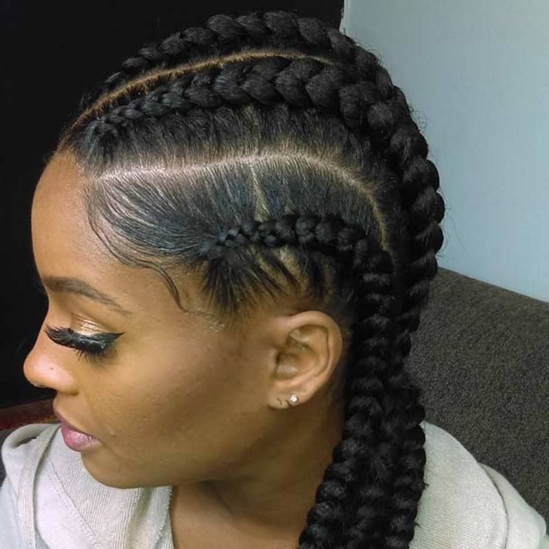 Ghana Braids – Updos, Cornrows, Jumbo & Ponytail | Pinterest | Ghana Pertaining To Most Recently Jumbo Cornrows Hairstyles (Gallery 3 of 15)