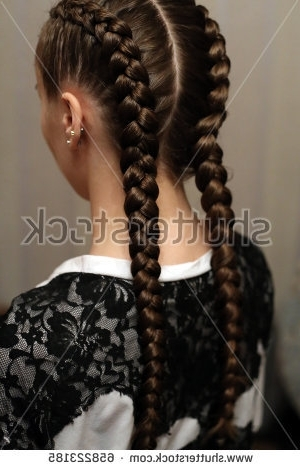 Girl Two Long Braids Hair Braided Stock Photo (Edit Now) 658223185 Regarding Best And Newest Two French Braid Hairstyles With Flower (View 7 of 15)