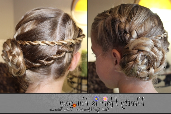 Girls' Hairstyles: Ladder Braid Pinwheel Updo – Pretty Hair Is Fun With Current Braided Hairstyles For Dance Recitals (View 12 of 15)