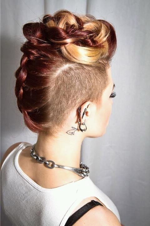 Glam Wedding Friendly Styles For Undercut Hair | Lust Worthy Hair With Latest Double Bun Mohawk With Undercuts (Gallery 7 of 15)