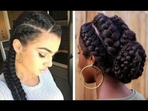 Goddess Braid On Natural 4C Hair: Quick Easy Tutorial – Youtube Regarding Current Quick Braided Hairstyles For Natural Hair (Gallery 1 of 15)