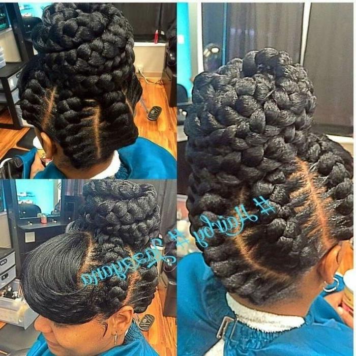 Goddess Braids In A Bun On Asymmetrical Hair Spray - Fortelliformen intended for Most Recent Asymmetrical Goddess Braids Hairstyles