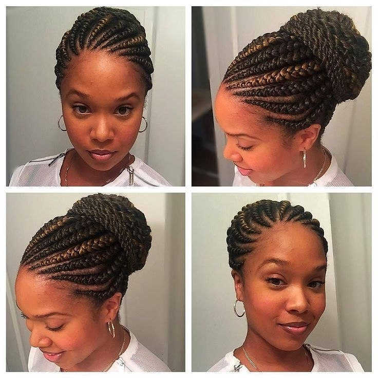 Gorgeous With Her Ghana Braids On A Bun /huneybflyy/ #curlkit With Most Popular Ghanaian Braided Hairstyles (View 3 of 15)