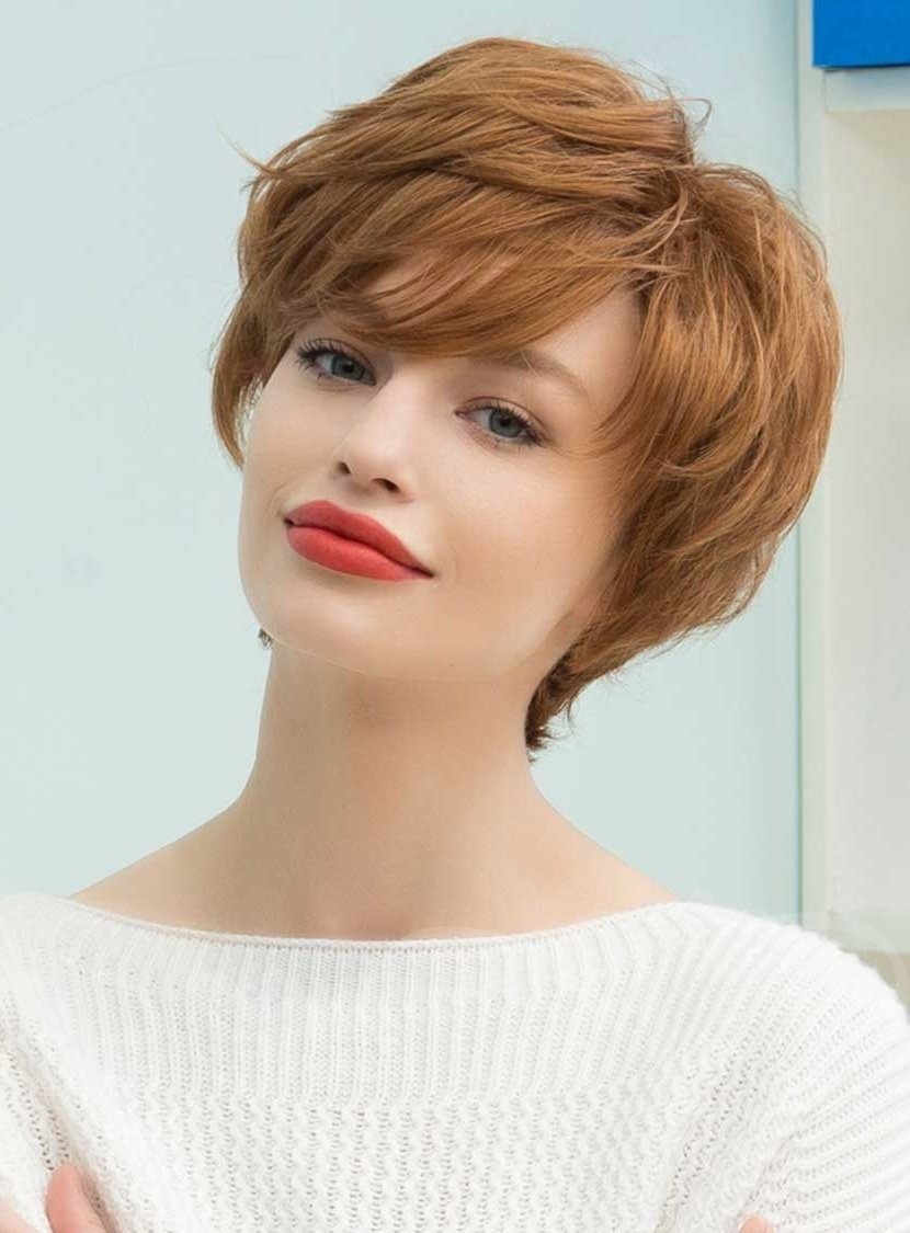 Graceful Short Feathered Pixie Haircut With Wispy Bangs Human Hair within Current Feathered Pixie Haircuts