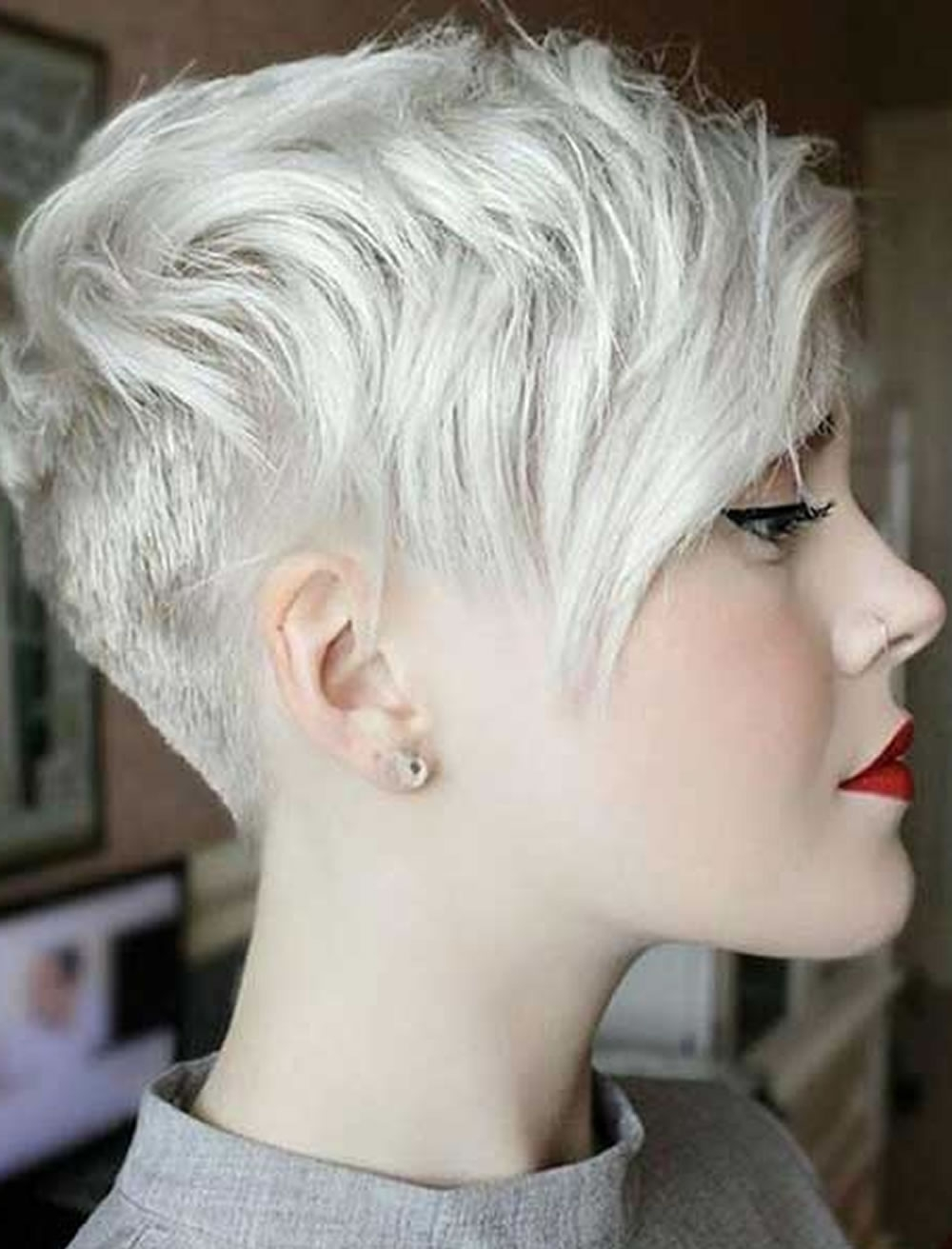Gray Short Hair Pixie Hairstyles For Girls 2017 2018 – Hairstyles With Latest Gray Blonde Pixie Haircuts (View 11 of 15)