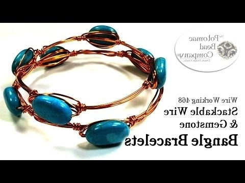 Great Tutorial!! Stackable Wire & Gemstone Bangle Bracelets throughout Recent Ponytail Wrapped In Copper Wire And Beads